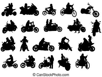 Bikes - Silhouettes of moto bike whit people