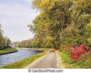 Bikeway along the Naviglio Grande from Abbiategrasso to...