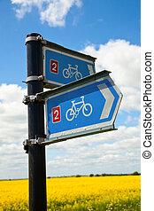 Bikeway directional sign