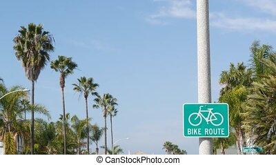 bikeway, sécurité, oceanside, touriste, couloir, palm., usa., singpost., route, sain, vélo, symbole, pacifique, parcours, style de vie, resort., cyclisme, californie, cycleway, signe, vélo, enseigne, récréation, vert