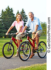 biking, пара, seniors