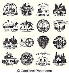 biking, クラブ, ベクトル, badge., キャンプ, セット, 山