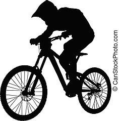 biking, 下り坂に, 山