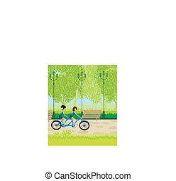 biking, 公園, 友人
