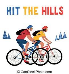 biking, 色, 冒険, ポスター, 山, 平ら, ベクトル