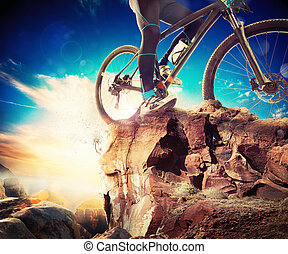Biking adventure - Man on a bicycle in a mountain