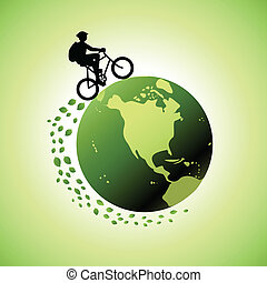 Biking for a greener world - earth-friendly transportation concept.