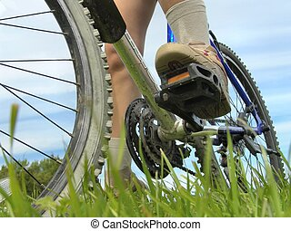 Biking - Bicycle wheels and feets