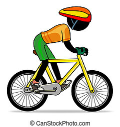 Cartoon sport action icon of a cyclist on his bike.