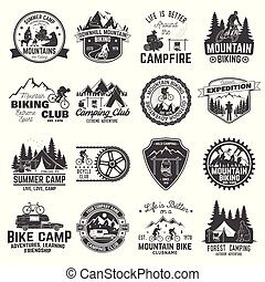 biking, club, vettore, badge., campeggio, set, montagna