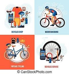 biking, concetto, disegno, 2x2