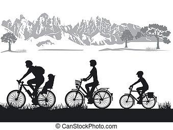 biking, família
