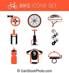 Biking gear icon set