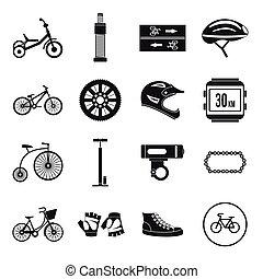 Biking icons set, simple style