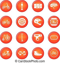 Biking icons vector set