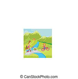biking, madre, figlia parco