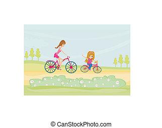 biking, madre, figlia