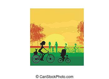biking, madre, hija del parque