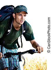 biking man - a biking man in front of nature scenes