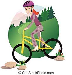biking, meisje, berg