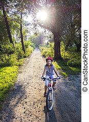 biking, ondergaande zon