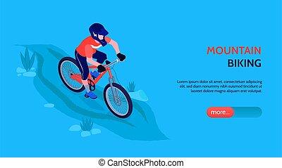biking, orizzontale, bandiera, montagna