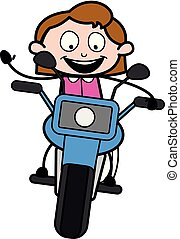 Biking - Retro Office Girl Employee Cartoon Vector Illustration