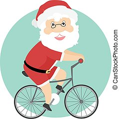 biking, santa, illustrazione