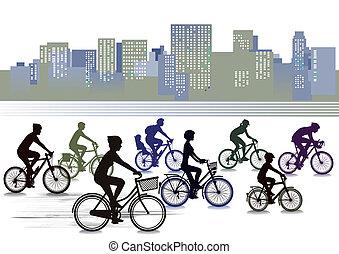 biking, stad