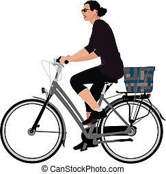 Biking woman - Color vector illustration of a lady riding...