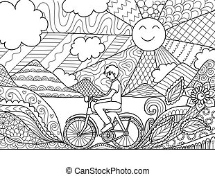 Biking - Young man riding bicycle happily in beautiful...