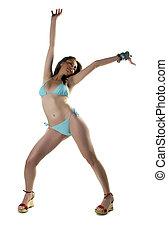 Bikini and Smile - Girl In Bikini Posing and Dancing and...