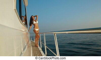 bikini, apprécier, yacht, vacatio, femme