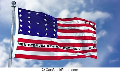 Bikini Atoll Flag in a Blue Sky. Use this clip loud and...