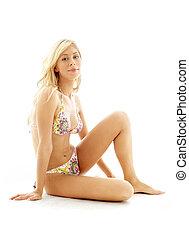 bikini, blond, posiedzenie
