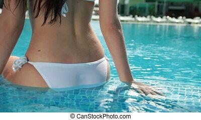 bikini, dos, piscine