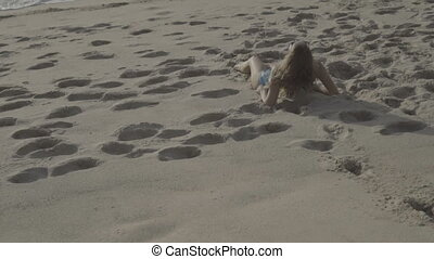 bikini, femme, plage