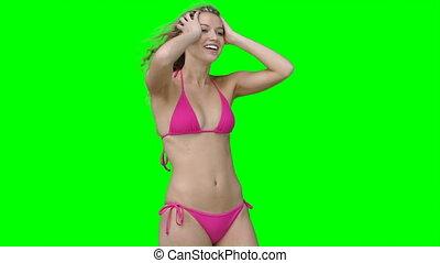 bikini, femme, poser