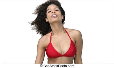 bikini, femme, rouges, danse