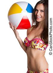 Bikini Girl - Beautiful bikini girl holding beach ball