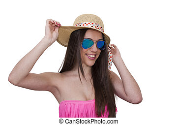 bikini girl in sunglasses isolated