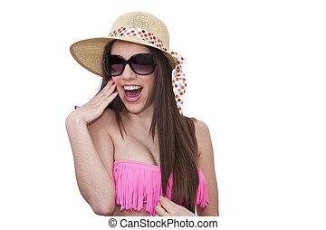 bikini girl in sunglasses isolated
