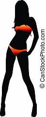 Bikini girl silhouette - vector