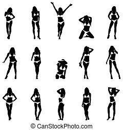 Bikini Girls Black Vector Silhouett
