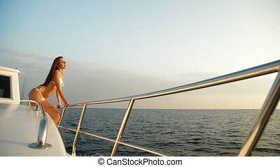 bikini, jacht, fényűzés, szépség
