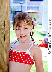 bikini kid girl water wet in pool garden