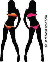bikini, kobieta, sylwetka