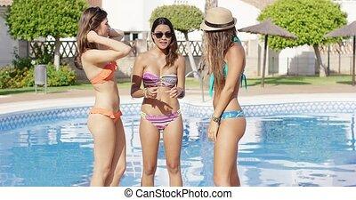 bikini, modny, kobiety, trzy, sexy
