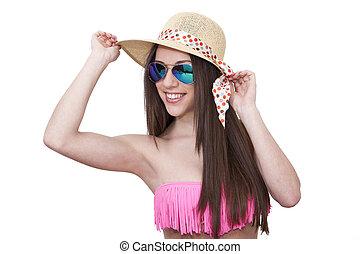 bikini, occhiali da sole, isolato, ragazza