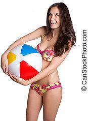 bikini, palla, spiaggia, donna